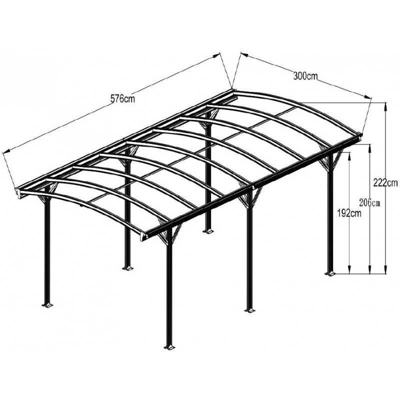 carport aus aluminium anthrazit 3x5 76m polycarbonat 6mm x metal. Black Bedroom Furniture Sets. Home Design Ideas