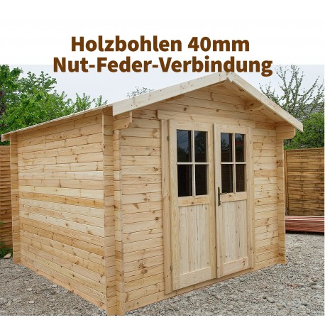 massivholz gartenhaus 9m plus 40mm von gardy shelter. Black Bedroom Furniture Sets. Home Design Ideas