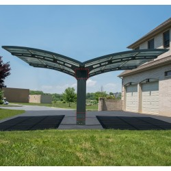 Carport double en alu anthracite et polycarbonate ARIZONA BREEZE 5000